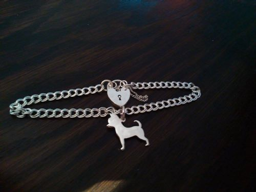 Chihuahua charm on a z curb bracelet solid sterling silver